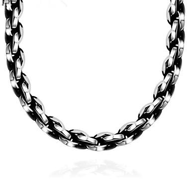 Недорогие Ожерелья-Муж. Цепочка геометрический Вертикальная Мода Титановая сталь Серебряный 60 cm Ожерелье Бижутерия 1шт Назначение Подарок Повседневные