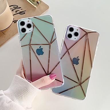 Недорогие Кейсы для iPhone-Кейс для Назначение Apple iPhone 11 / iPhone 11 Pro / iPhone 11 Pro Max Защита от удара / Покрытие / IMD Кейс на заднюю панель Градиент цвета / Прозрачный / Геометрический рисунок ТПУ / ПК