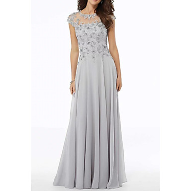 cheap Mother of the Bride Dresses-A-Line Jewel Neck Floor Length Chiffon / Tulle Short Sleeve Elegant Mother of the Bride Dress with Embroidery / Appliques 2020