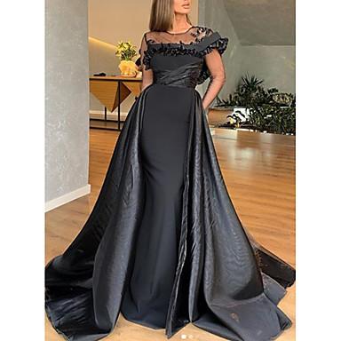 hesapli Balo Elbiseleri-A-Şekilli Zarif Nişan Resmi Akşam Elbise Taşlı Yaka Kısa Kollu Süpürge / Fırça Kuyruk Saten ile Fırfırlı 2020