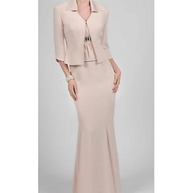 cheap Mother of the Bride Dresses-Two Piece / Sheath / Column V Neck Floor Length Charmeuse 3/4 Length Sleeve Plus Size Mother of the Bride Dress with Ruching 2020