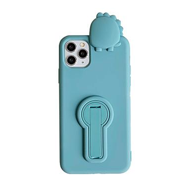 Недорогие Кейсы для iPhone-Кейс для Назначение Apple iPhone 11 / iPhone 11 Pro / iPhone 11 Pro Max Защита от удара / со стендом Кейс на заднюю панель Однотонный / Животное / Мультипликация ТПУ