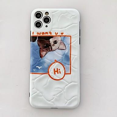 Недорогие Кейсы для iPhone 7-Кейс для Назначение Apple iPhone 11 / iPhone 11 Pro / iPhone 11 Pro Max Защита от удара Кейс на заднюю панель Кот / Однотонный / Мультипликация ПК