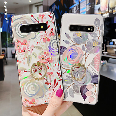 cheap Galaxy Note Series Cases / Covers-Case For Samsung scene map Samsung Galaxy S10 S10 Plus A50 A70 Electroplated laser flower pattern TPU material IMD process ring bracket all-inclusive mobile phone case KLD