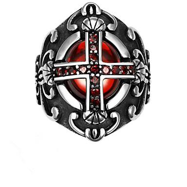 povoljno Prstenje-Muškarci Prsten 1pc Srebro Titanium Steel Geometric Shape Moda Dnevno Praznik Jewelry Geometrijski Kereszt Cool