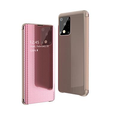 Недорогие Чехлы и кейсы для Galaxy Note-чехол для samsung galaxy s20 ultra plus / s9 plus / s8 plus противоударный / зеркальный / откидной чехол для всего тела однотонная искусственная кожа / акрил