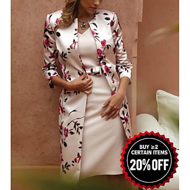 Недорогие Платья-Жен. Элегантный стиль Кружева Тонкие Из двух частей Платье - Цветочный принт, Кружева V-образный вырез Средней длины