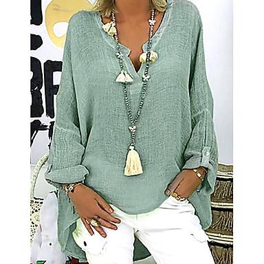 povoljno Ženske majice-ženska kauzalna plus veličina bluza - puna boja v vrat crne boje
