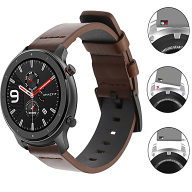 baratos Pulseira para Amazfit-Pulseira de relógio de couro de luxo para huami amazfit gtr 47mm / amazfit stratos 3 / gtr 42mm / gts / bip lite / pace watch / stratos 2 2s pulseira substituível pulseira pulseira