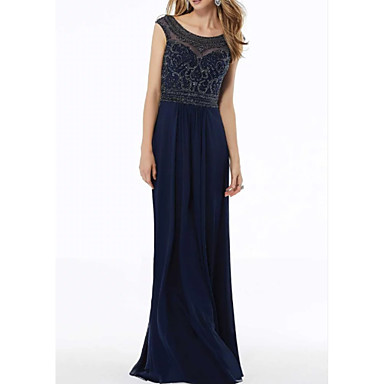cheap Mother of the Bride Dresses-A-Line Jewel Neck Knee Length Chiffon / Lace Sleeveless Elegant Mother of the Bride Dress with Lace / Beading 2020