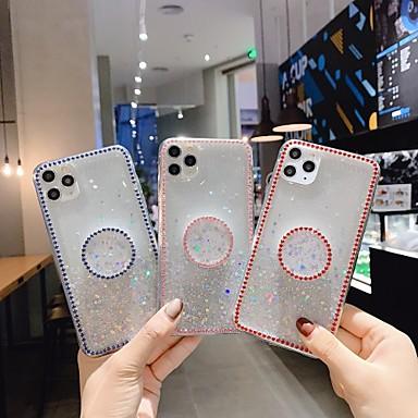 Недорогие Кейсы для iPhone 7-Кейс для Назначение Apple iPhone 11 / iPhone 11 Pro / iPhone 11 Pro Max Стразы / со стендом / Сияние и блеск Кейс на заднюю панель Сияние и блеск ТПУ