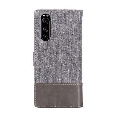 Недорогие Чехлы и кейсы для Sony-Кейс для Назначение Sony Xperia XZ2 / Xperia XZ2 Compact / Sony Xperia XZ2 Premium Бумажник для карт / Защита от удара Чехол Однотонный Кожа PU