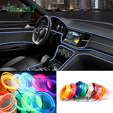 ราคาถูก ไฟรถยนต์-5 เมตร / ล็อตที่มีความยืดหยุ่นแสงภายในรถนำแถบพวงมาลัยลวดเชือกหลอดสายแสงนีออนกับไดรฟ์บุหรี่ควบคุม 8 สี 12 โวลต์