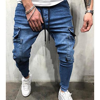 povoljno Muške hlače-Muškarci Ulični šik Chinos Hlače - Jednobojni Crn Navy Plava US32 / UK32 / EU40 US34 / UK34 / EU42
