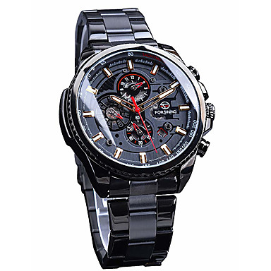 hesapli Mekanik Saatler-Erkek Elbise Saat Otomatik kendi hareketli Üç Gözlü Altı İğne Siyah / Gümüş / Altın Rengi Su Geçirmez Büyük Kadran Analog Minimalist - Siyah Altın Gümüş