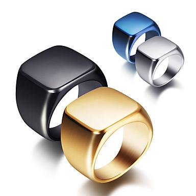 povoljno Prstenje-Muškarci Band Ring 1pc Crn Zlato Srebro Titanium Steel Geometric Shape Punk pomodan Dnevno Jewelry Geometrijski Nada Cool