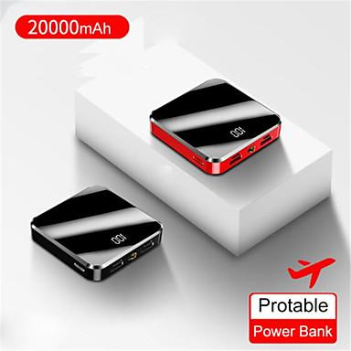 رخيصةأون باور بانك-20000 مللي أمبير المحمولة مصغرة قوة البنك مرآة الشاشة أدى عرض powerbank poverbank حزمة بطارية خارجية للهاتف المحمول الذكية