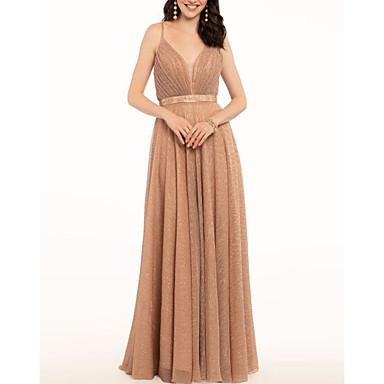 hesapli Balo Elbiseleri-A-Şekilli Zarif Balo Resmi Akşam Elbise Spagetti Askılı Kolsuz Yere Kadar Polyester ile Pileler 2020