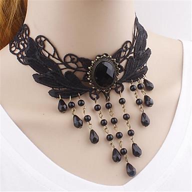Retro Jewelry Black Beads Collar Chain Necklace Tassels Pendants Choker