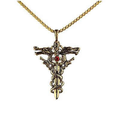 Недорогие Ожерелья-Муж. Ожерелья с подвесками геометрический Крест Мода Титановая сталь Золотой Серебряный 50 cm Ожерелье Бижутерия 1шт Назначение Подарок Повседневные