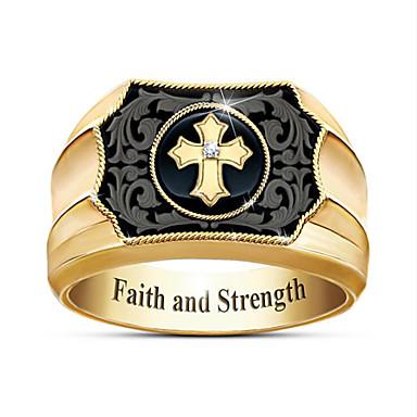 povoljno Prstenje-Muškarci Prsten 1pc Zlato Pozlaćeni Geometric Shape Moda Dnevno Praznik Jewelry Geometrijski Kereszt Cool