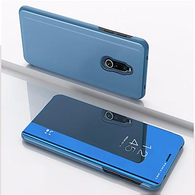 Недорогие Чехлы и кейсы для Xiaomi-Кейс для Назначение Xiaomi Xiaomi Redmi Note 5 Pro / Xiaomi Redmi Примечание 5 / Xiaomi Pocophone F1 Защита от удара / Зеркальная поверхность / Флип Чехол Однотонный Кожа PU