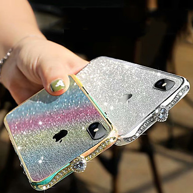 Недорогие Кейсы для iPhone X-iphone 11pro макс алмаз металлический телефон чехол хс макс роскошный блеск розовый градиент горный хрусталь 6/7 / 8 плюс металлический защитный защитный чехол
