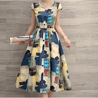povoljno Ženske haljine-Žene Plava Haljina Swing kroj Color block S M