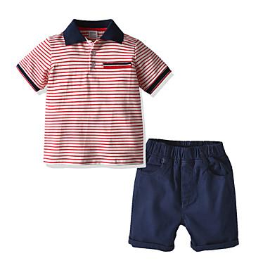 povoljno Odjeća za bebe Za dječake-Dijete Dječaci Osnovni Prugasti uzorak Kratkih rukava Regularna Normalne dužine Komplet odjeće Blushing Pink