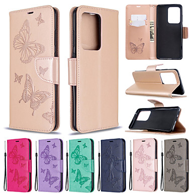 Недорогие Чехлы и кейсы для Galaxy S-чехол для samsung galaxy s20 s20 plus чехол для телефона искусственная кожа материал бабочки с рисунком сплошной цвет шаблон чехол для телефона для galaxy s10 s10 plus s20 ultrs s9 plus s9