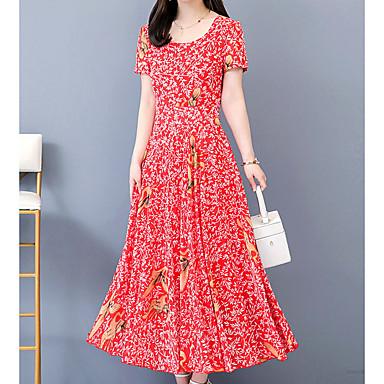 Недорогие Женская мода-Жен. Макси Красный Зеленый Платье С летящей юбкой Геометрический принт На одно плечо S M Тонкие