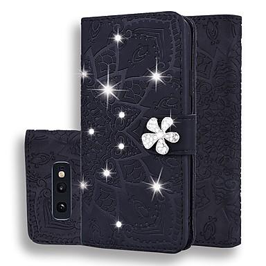 Недорогие Чехлы и кейсы для Galaxy Note-чехол для samsung galaxy s9 / s9 plus / s8 plus кошелек / визитница / горный хрусталь чехлы для тела сплошной цвет / блестящий блеск искусственная кожа для galaxy s8 / s10 / s10e / s10 plus / note 10