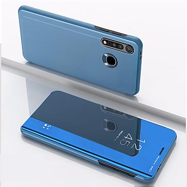 Недорогие Чехлы и кейсы для Motorola-Кейс для Назначение Motorola МОТО G8PLUS Защита от удара / Зеркальная поверхность / Флип Чехол Однотонный Закаленное стекло