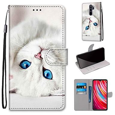 Недорогие Чехлы и кейсы для Xiaomi-чехол для xiaomi redmi note 8 pro / redmi note 8 / redmi note 8t кошелек / визитница / с подставкой белая кошка из искусственной кожи / тпу для redmi note 7 / mi cc9 pro / redmi 8 / redmi k30 / redmi