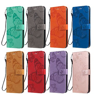 cheap LG Case-Case For LG LG X Power3 / LG V40 / LG V50 Wallet / Card Holder / with Stand Full Body Cases Butterfly / Solid Colored PU Leather