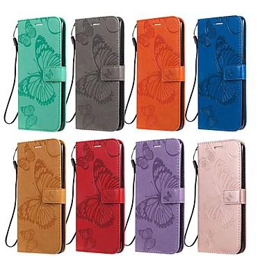 Недорогие Чехлы и кейсы для LG-Кейс для Назначение LG LG X Power3 / LG V40 / LG V50 Кошелек / Бумажник для карт / со стендом Чехол Бабочка / Однотонный Кожа PU