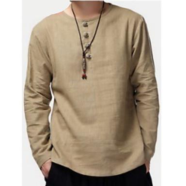 povoljno Muške majice-Majica s rukavima Muškarci Dnevno Jednobojni Žutomrk