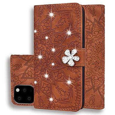 Недорогие Кейсы для iPhone 7 Plus-чехол для яблока iphone 11 / iphone 11 pro / iphone 11 pro max кошелек / держатель карты / стразы для тела весь корпус сплошной цвет / блестящий блеск искусственная кожа для iphone xr / xs max / xs /