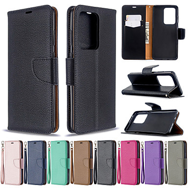 povoljno Samsung oprema-Futrola za samsung galaxy s20 s20 plus telefonska futrola pu kožna građa litchi uzorak jednobojni uzorak telefon futrola za galaxy s10 s10 plus s20 ultrs s9 plus s9