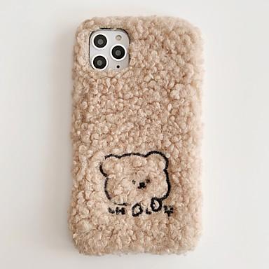 Недорогие Кейсы для iPhone-плюшевый чехол для iphone 11 совместим с apple iphone11 pro max чехол зима теплая роскошь девчушка бампер милый вышитый медведь симпатичная защитная кожа подходит для apple iphone7 / iphone 8 / iphone