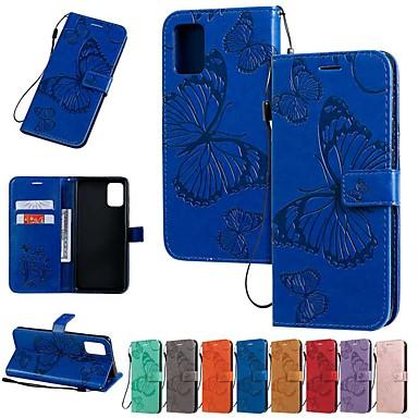 Недорогие Чехлы и кейсы для Galaxy Note-Кейс для Назначение SSamsung Galaxy Galaxy A7(2018) / Note 9 / Note 8 Кошелек / Бумажник для карт / со стендом Чехол Бабочка / Однотонный Кожа PU