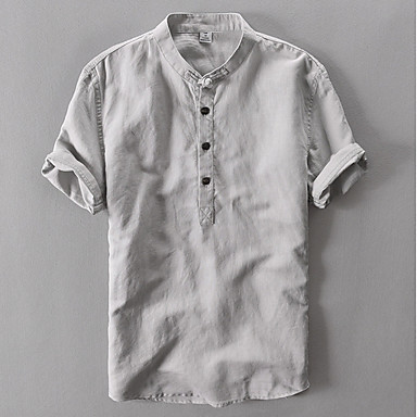 cheap Men's Shirts-Men's Solid Colored Shirt - Linen Daily Round Neck White / Blue / Green / Navy Blue / Gray / Short Sleeve