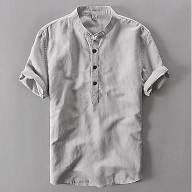 povoljno Muške košulje-Muškarci Jednobojni Majica - Lan Dnevno Okrugli izrez Obala / Plava / Djetelina / Navy Plava / Sive boje / Kratkih rukava