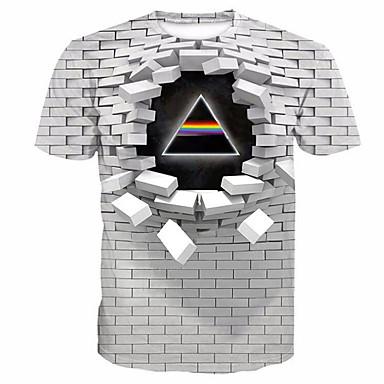 billige 2020 Trends-Rund hals Herre - Geometrisk / 3D / Bogstaver Trykt mønster T-shirt Hvid / Kortærmet