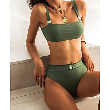 povoljno Bikini i kupaći-Žene Veći konfekcijski brojevi Blushing Pink Vojska Green Plava Tankini Kupaći kostimi Kupaći kostim - Jednobojni S M L Blushing Pink