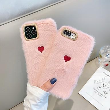 Недорогие Кейсы для iPhone 7 Plus-Кейс для Назначение Apple iPhone 11 / iPhone 11 Pro / iPhone 11 Pro Max Защита от удара Кейс на заднюю панель С сердцем / Однотонный / Плюш ТПУ