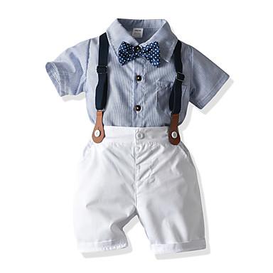 povoljno Odjeća za bebe Za dječake-Dijete Dječaci Boho / Kinezerije Prugasti uzorak Kratkih rukava Kratka Kratak Komplet odjeće Svjetloplav