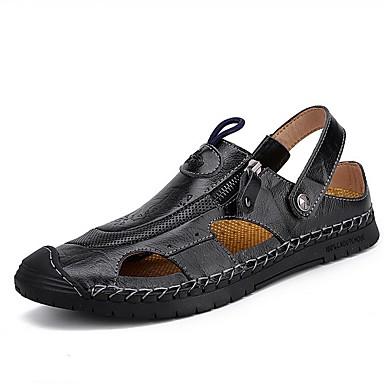 hesapli Erkek modası-Erkek Ayakkabı PU Yaz Sandaletler Dış mekan için Kahverengi / Siyah