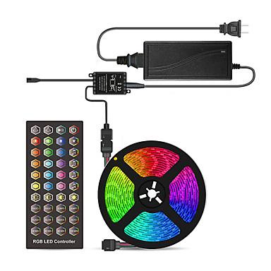 economico LED e illuminazione-Strisce luminose a led flessibili a comando vocale da 5 m / set di luci / luci a striscia rgb 300 led smd5050 10mm 1 x 40 chiave controller / 1 x 12v 5a alimentatore 1 set multi colore impermeabile /