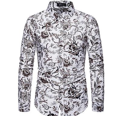 povoljno Muške košulje-Muškarci Veći konfekcijski brojevi Geometrijski oblici Slim Majica Dnevno Obala / Crn / Plava / Bijela / Sive boje / Dugih rukava